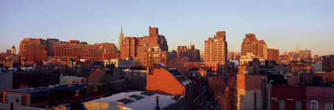 Panoramautsikt av lägre östlig sida av Manhattan, New York City, New York horisont nära den Greenwich byn arkivbild