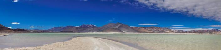 Panoramautsikt av lagun Salar de som är talar vid San Pedro de Atacama Royaltyfri Fotografi