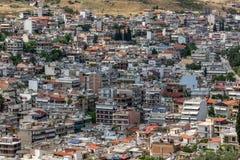 Panoramautsikt av Lamia City, Grekland arkivbilder