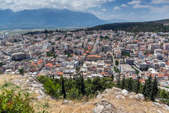 Panoramautsikt av Lamia City, Grekland royaltyfri foto
