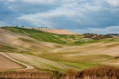 Panoramautsikt av landskapet för Tuscan jordbruksmarkbygd med Rolling Hills, Tuscany, Italien royaltyfria foton