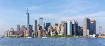 Panoramautsikt av Lower Manhattan, New York City, USA Fotografering för Bildbyråer