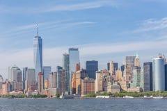 Panoramautsikt av Lower Manhattan, New York City, USA Arkivbilder