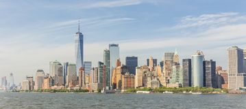 Panoramautsikt av Lower Manhattan, New York City, USA royaltyfri foto
