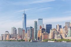 Panoramautsikt av Lower Manhattan, New York City, USA royaltyfria bilder