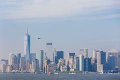 Panoramautsikt av Lower Manhattan, New York City, USA arkivfoto