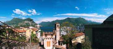 Panoramautsikt av Lugano, Schweiz Fotografering för Bildbyråer