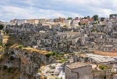 Panoramautsikt av Matera - Puglia arkivbild