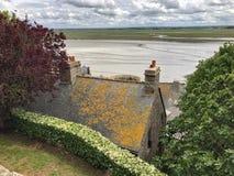 Panoramautsikt av Mont Saint Michele, Normandie, Frankrike Royaltyfria Bilder