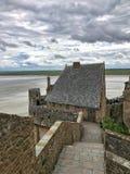 Panoramautsikt av Mont Saint Michele, Normandie, Frankrike Arkivfoto