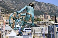Panoramautsikt av Monte Carlo Casino och hamnen av Monaco Arkivbild