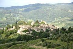 Panoramautsikt av Montefioralle (Tuscany, Italien) Royaltyfri Foto