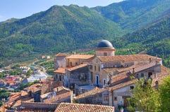 Panoramautsikt av Morano Calabro Calabria italy royaltyfria bilder