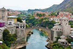 Panoramautsikt av Mostar royaltyfri foto