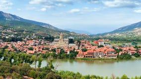 Panoramautsikt av Mtskheta, Georgia Royaltyfri Fotografi