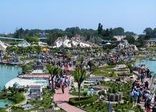 Panoramautsikt av nöjesfältet 'Italien i miniatyren 'Italia i miniaturaen Viserba, Rimini, Italien fotografering för bildbyråer