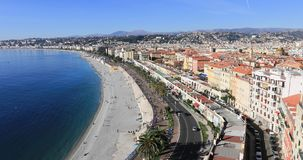 Panoramautsikt av Nice och kusten av azurer stock video