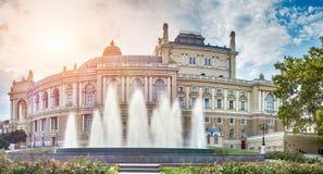 Panoramautsikt av opera- och balettteatern i Odessa Royaltyfri Foto