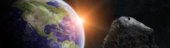 Panoramautsikt av planetjord med asteroider som flyger beträffande nära 3D Royaltyfria Foton