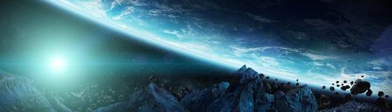 Panoramautsikt av planetjord med asteroider som flyger beträffande nära 3D Royaltyfria Bilder