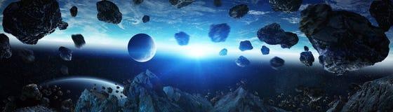 Panoramautsikt av planetjord med asteroider som flyger beträffande nära 3D Royaltyfri Fotografi