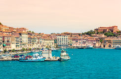 Panoramautsikt av Portoferraio, Elba ö, Italien royaltyfri fotografi