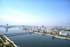 Panoramautsikt av Pyongyang i morgonen DPRK - Nordkorea Royaltyfria Foton