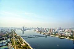 Panoramautsikt av Pyongyang i morgonen DPRK - Nordkorea Royaltyfria Bilder