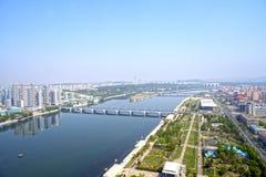 Panoramautsikt av Pyongyang i morgonen DPRK - Nordkorea Fotografering för Bildbyråer