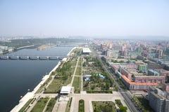 Panoramautsikt av Pyongyang i morgonen DPRK - Nordkorea Royaltyfri Bild