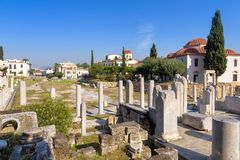 Panoramautsikt av Roman Agora, Aten, Grekland royaltyfria foton