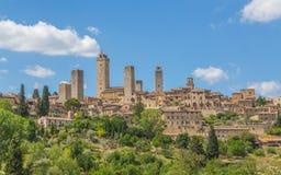 Panoramautsikt av San Gimignano Tuscany Italien Fotografering för Bildbyråer