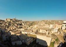 Panoramautsikt av Sassi di Matera arkivbild