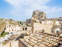 Panoramautsikt av Sassi di Matera, europeisk huvudstad av kultur 2019 royaltyfria bilder