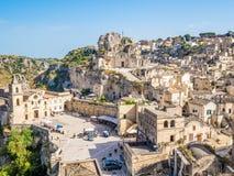 Panoramautsikt av Sassi di Matera, europeisk huvudstad av kultur 2019 royaltyfri fotografi