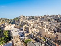 Panoramautsikt av Sassi di Matera, europeisk huvudstad av kultur 2019 royaltyfri bild