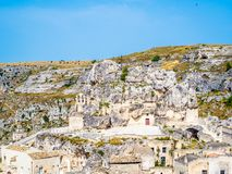 Panoramautsikt av Sassi di Matera, förhistorisk historisk mitt, UNESCOvärldsarv, europeisk huvudstad av kultur 2019 fotografering för bildbyråer