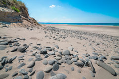 Panoramautsikt av seascape i den Aberdovey stranden Wales Royaltyfria Bilder