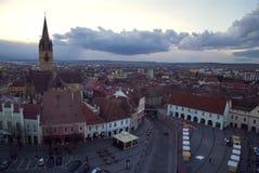 Panoramautsikt av Sibiu arkivfoto
