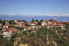 Panoramautsikt av Sighnaghi Kakheti georgia royaltyfri bild