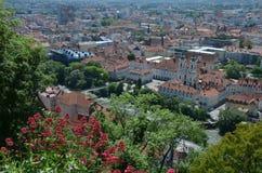 Panoramautsikt av staden av Graz, Österrike Arkivfoto