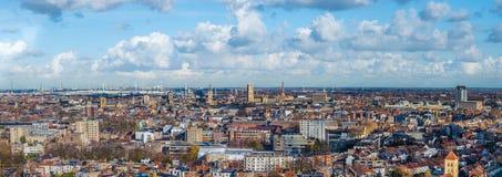 Panoramautsikt av staden av ghent i Belgien royaltyfri bild