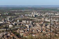 Panoramautsikt av staden av Shumen, Bulgarien arkivbilder