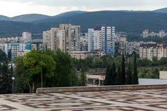 Panoramautsikt av staden av Stara Zagora, Bulgarien arkivbilder