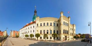 Panoramautsikt av stadshuset i Glogow Glogow är en av de äldsta städerna i Polen royaltyfri foto