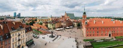 Panoramautsikt av stirrandet Miasto i den gamla staden för Warszawa, Polen Arkivbilder