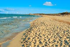 Panoramautsikt av stranden för Es Cavallet, i den Ibiza ön, Spanien royaltyfri bild