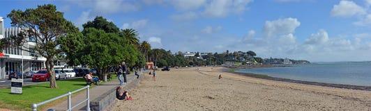 Panoramautsikt av stranden för St Helliers, Auckland, Nya Zeeland Arkivfoto