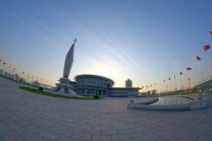 Panoramautsikt av templet av vetenskap och teknik på solnedgången Pyongyang DPRK - Nordkorea Arkivbilder
