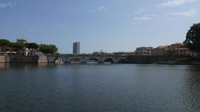 Panoramautsikt av Tiberius Bridge Tiberius Bridge lager videofilmer